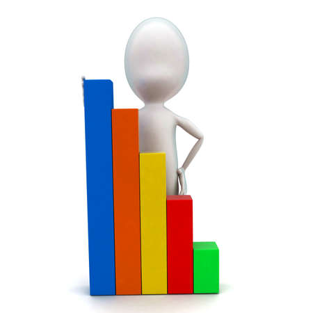 statics: 3d man presenting higher statics bar graph concept in white isolated background - 3d rendering ,  front angle view