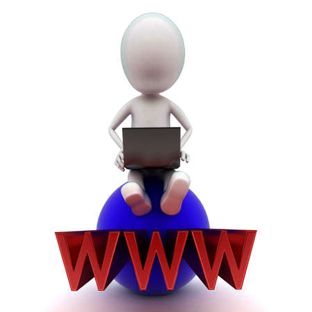 projected: 3d man using laptop on the sphere with www text projected from the center of sphere concept in white isolated background - 3d rendering ,  front angle view Stock Photo