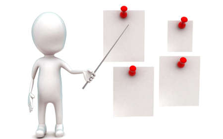 nailed: 3d man holding stick and presenting papers nailed with clips concept in white isolated background - 3d rendering ,  front angle view