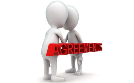 each: 3d guys handshaking each other - agreements concept in white isolated background , side angle view