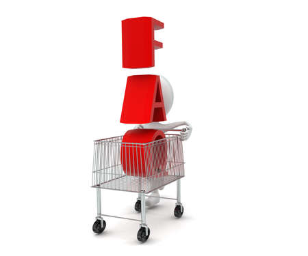 moving in: 3d man moving a trolley with faq text in it concept in white isolated background , front angle view