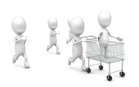 from behind: 3d man moving a trolley with man in it and so many guys running behind concept in white isolated background , side angle view