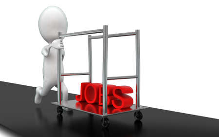 man pushing: 3d man pushing waiter trolley with jobs text in it concept in white isolated background , front angle view