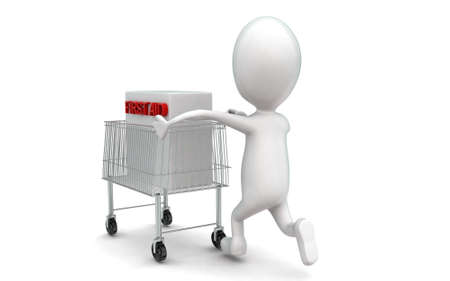 moving in: 3d man moving a trolley with a first aid box in it concept in white isolated background , back angle view