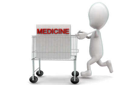moving in: 3d man moving a trolley with a medicine box in it concept in white isolated background , side angle view Stock Photo