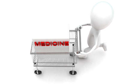 moving in: 3d man moving a trolley with a medicine box in it concept in white isolated background , top angle view