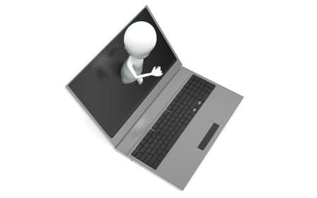 coming out: 3d man coming out from laptop screen concept in white isolated background , top angle view Stock Photo