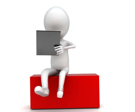 using: 3d man using notepad while sitting on box concept in white isolated background , front angle view