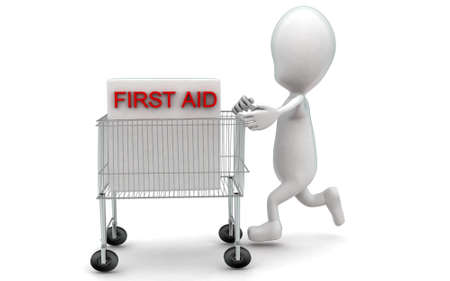 moving box: 3d man moving a trolley with a first aid box in it concept in white isolated background , side angle view Stock Photo