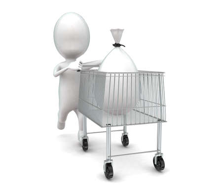sacks: 3d man moving a trolley with bag sacks in it concept in white isolated background , front angle view Stock Photo
