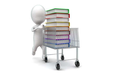 moving in: 3d man moving a trolley with files in it concept in white isolated background , front angle view