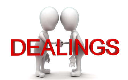 dealings: 3d guys handshaking each other -dealings concept in white isolated background , front angle view