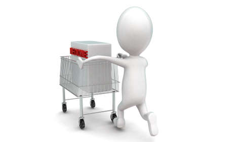 moving box: 3d man moving a trolley with a medicine box in it concept in white isolated background , back angle view