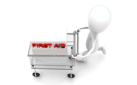 moving in: 3d man moving a trolley with a first aid box in it concept in white isolated background , top angle view Stock Photo