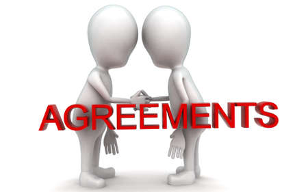 each: 3d guys handshaking each other - agreements concept in white isolated background , front angle view Stock Photo