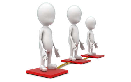 beveled: 3d guys standing on beveled floor which are connected concept in white isolated background , side angle view