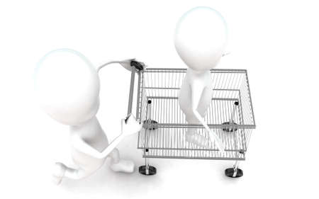 moving in: 3d man moving a trolley with man in it concept in white isolated background , top angle view
