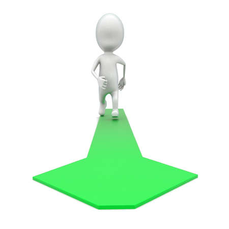 green arrow: 3d man walking on green arrow on floor concept in white isolated background , front angle view Stock Photo
