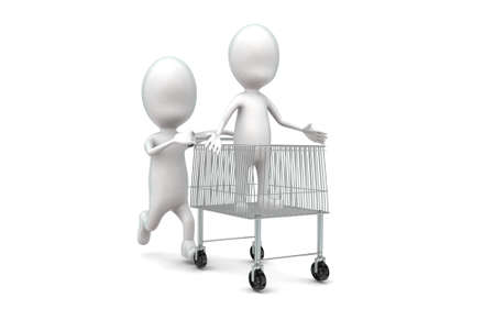moving in: 3d man moving a trolley with man in it concept in white isolated background , front angle view