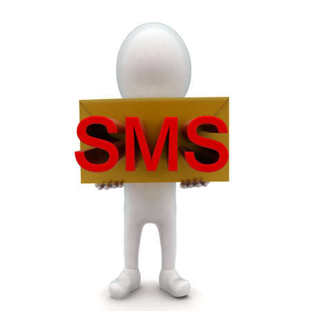 sms text: 3d man holding a message - letter in hands with sms text projected concept in white isolated background , front angle view