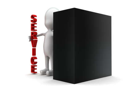 computer cpu: 3d man presenting a cpu  computer and service concept in white isolated background , side angle view
