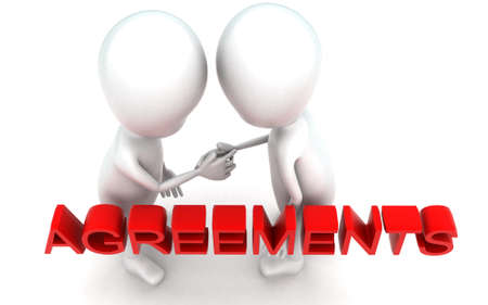 each: 3d guys handshaking each other - agreements concept in white isolated background , top angle view