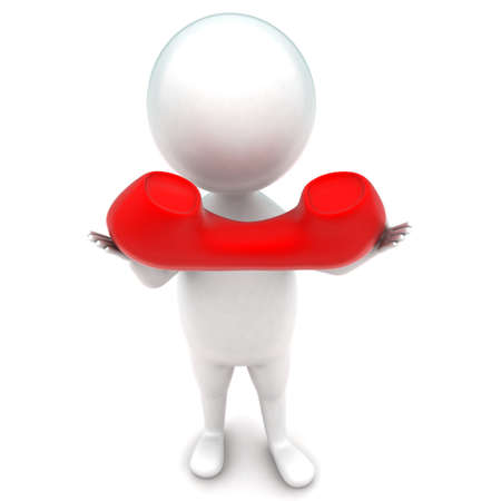 reciever: 3d man holding telephone reciever in hands concept in white isolated background - 3d rendering ,  top angle view