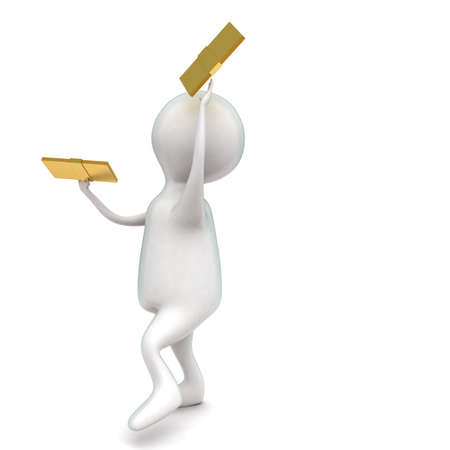 holding notes: 3d man holding golden notes in hands concept in white isolated background - 3d rendering ,  side angle view Stock Photo