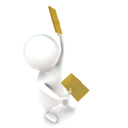 holding notes: 3d man holding golden notes in hands concept in white isolated background - 3d rendering ,  top angle view