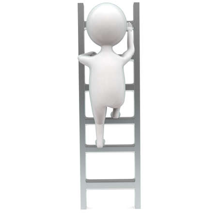 front angle: 3d man climbing up ladder concept in white isolated background - 3d rendering ,  front angle view