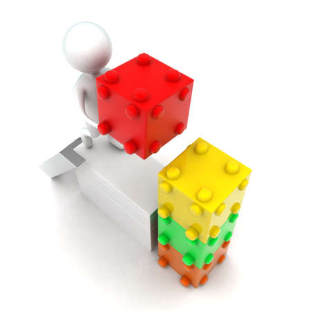 bulding: 3d man bulding with toy bricks concept in white isolated background - 3d rendering ,  top angle view