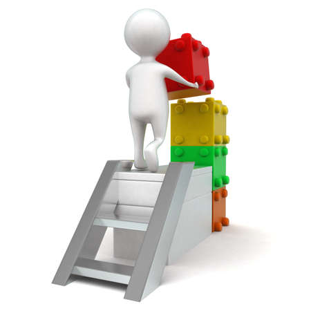 bulding: 3d man bulding with toy bricks concept in white isolated background - 3d rendering ,  back angle view