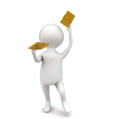 holding notes: 3d man holding golden notes in hands concept in white isolated background - 3d rendering ,  front angle view