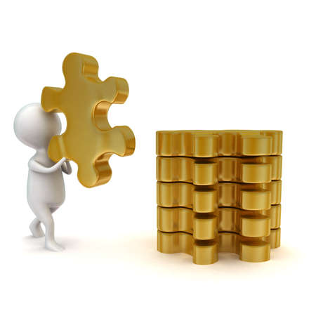 arranging: 3d man arranging puzzle in a row concept in white isolated background - 3d rendering ,  side angle view