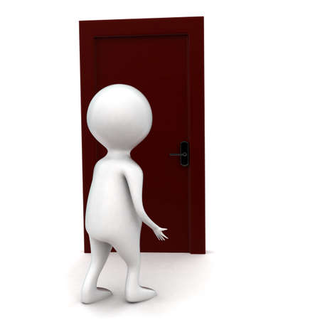 white door: 3d man going to open door concept in white isolated backround , front angle view Stock Photo