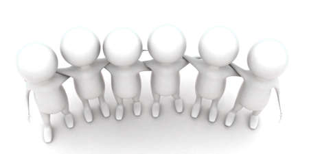 togheter: 3d guys holding hands togheter concept in white isolated background , top angle view