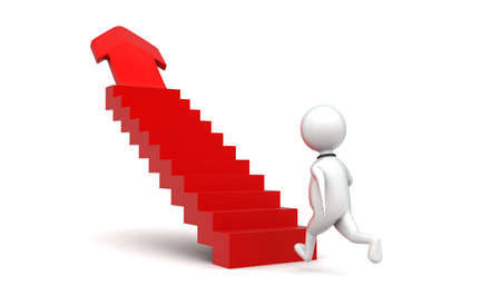 statics: 3d man walking into stairs having arrow at end - higher statics concept in white  isolated background , back angle view