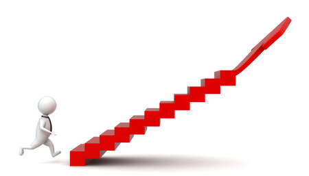 higher: 3d man walking into stairs having arrow at end - higher statics concept in white  isolated background , sideangle view Stock Photo