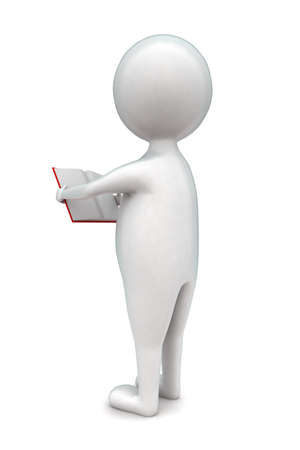 man holding book: 3d man holding a book in hands concept in white isolated background - 3d rendering ,  back angle view