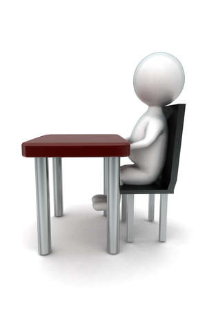 front desk: 3d man sitting in chait in front of desk concept in white isolated background - 3d rendering ,  side angle view