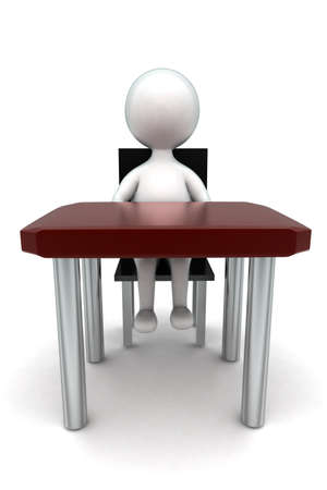 front desk: 3d man sitting in chait in front of desk concept in white isolated background - 3d rendering ,  front angle view