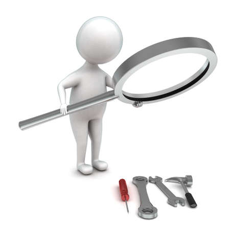 examining: 3d man holding a magnifier and examining tools onthe floor concept in white isolated background - 3d rendering ,  front angle view