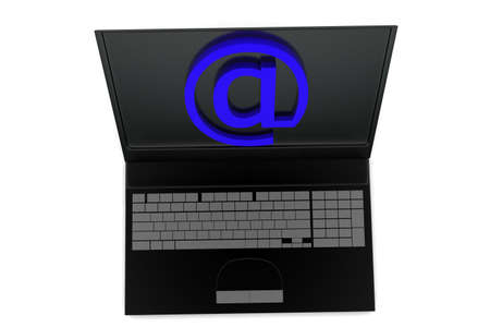 laptop screen: 3d laptop with attherate sign in the screen concept in white isolated background , top angle view