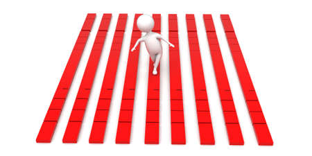 walk through: 3d man walking through thin red bridge concept in white isolated background , back angle view Stock Photo