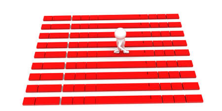 3d man walking through thin red bridge concept in white isolated background ,top angle view Stock Photo