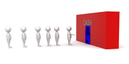 que: 3d men in que for cash concept in white isolated background - 3d rendering , side angle view
