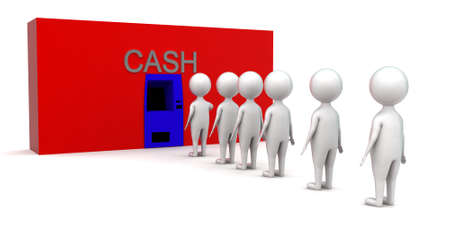 que: 3d men in que for cash concept in white isolated background - 3d rendering ,  front angle view