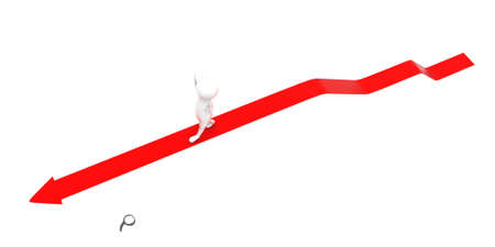 higher: 3d man walking through elevated higher level static arrow concept in white isolated background - 3d rendering ,  top angle view Stock Photo