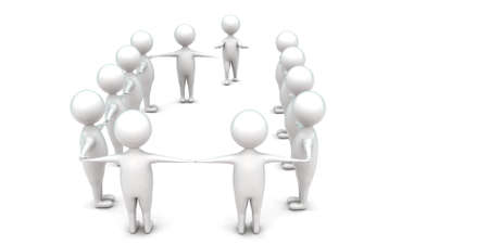 join hands: 3d man coming to join hands which are connected in a row concept in white isolated background , top angle view