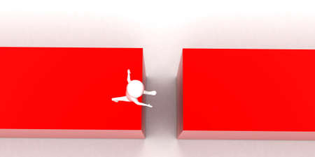 between: 3d man jumping the space between twoblocks concept in white isolated background , top angle view
